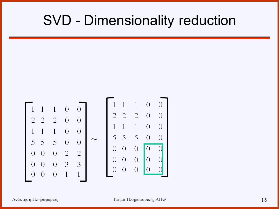 SVD - Dimensionality reduction