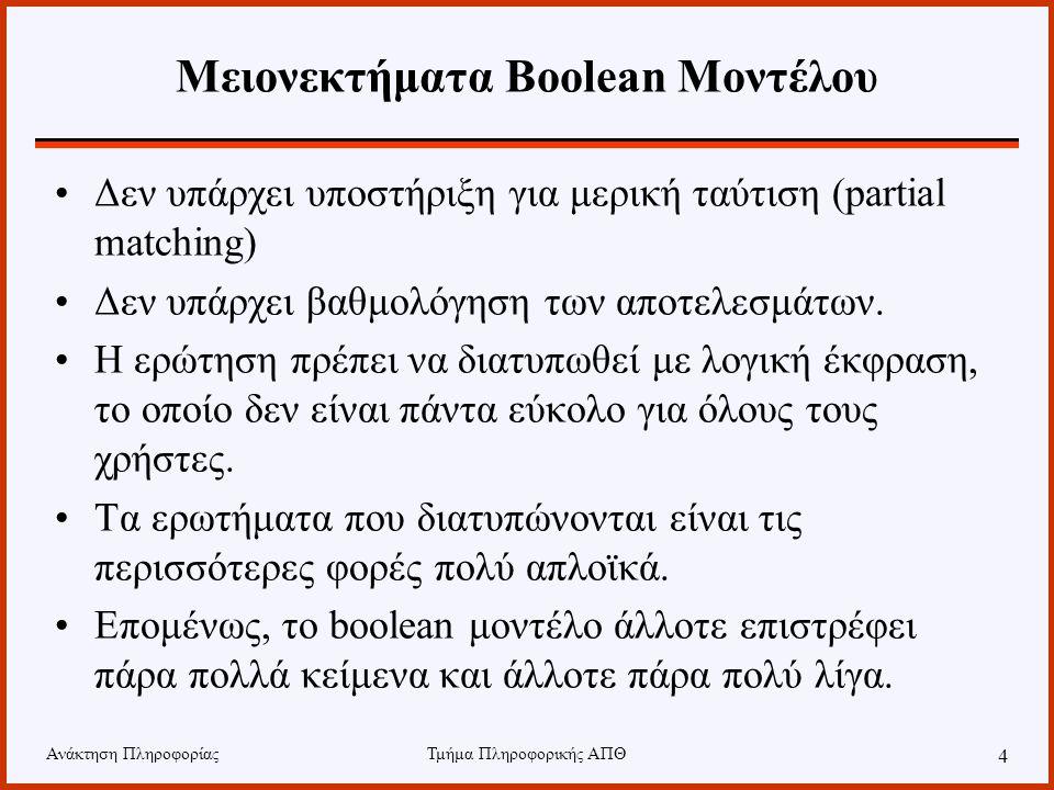 Μειονεκτήματα Boolean Μοντέλου