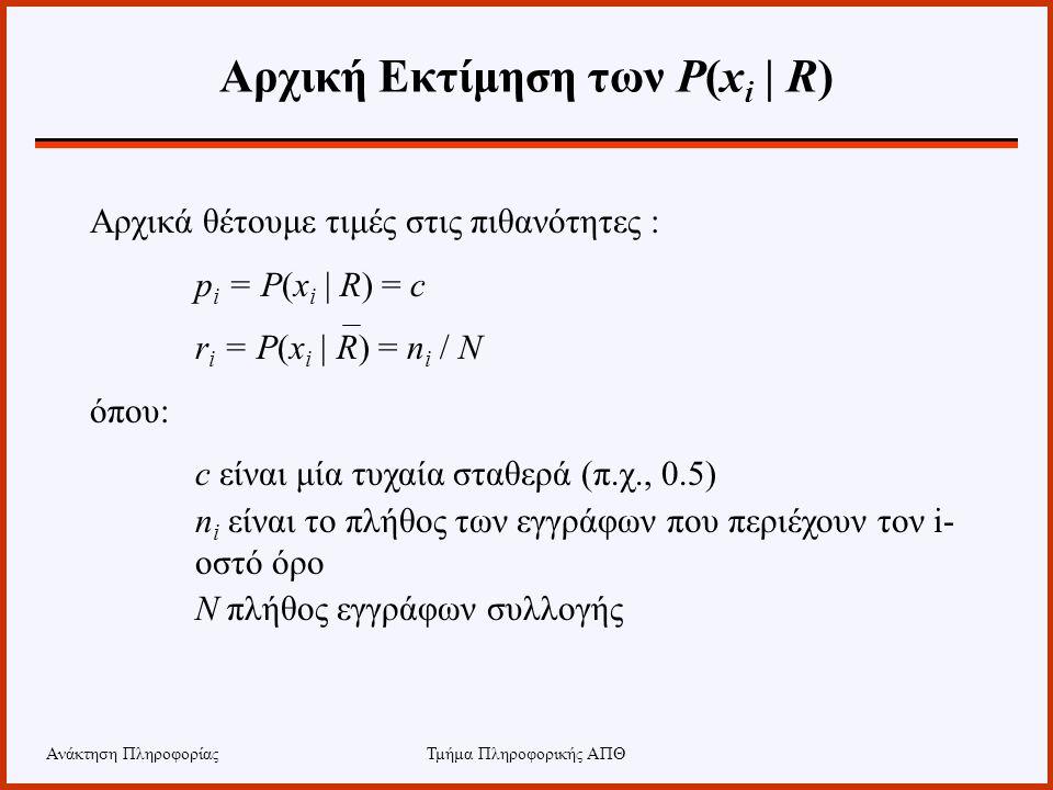 Αρχική Εκτίμηση των P(xi | R)