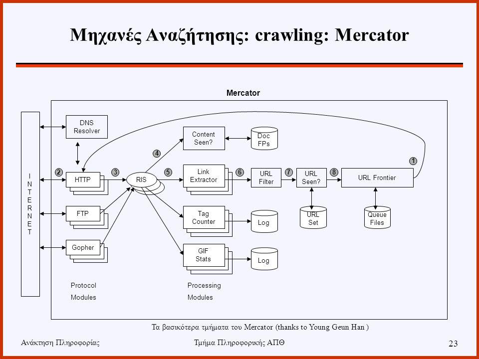 Μηχανές Αναζήτησης: crawling: Mercator