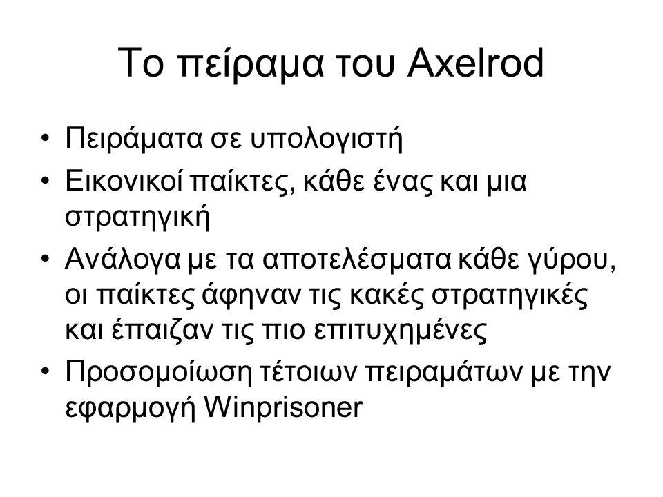 Το πείραμα του Axelrod Πειράματα σε υπολογιστή