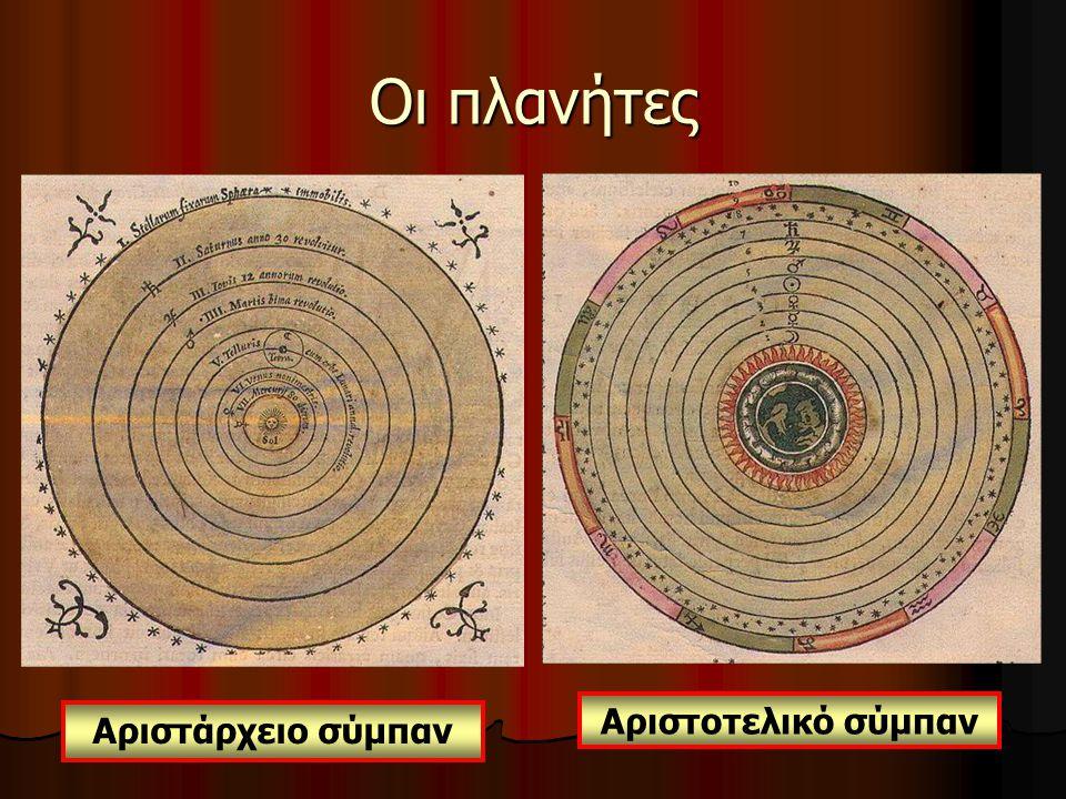 Οι πλανήτες Αριστοτελικό σύμπαν Αριστάρχειο σύμπαν