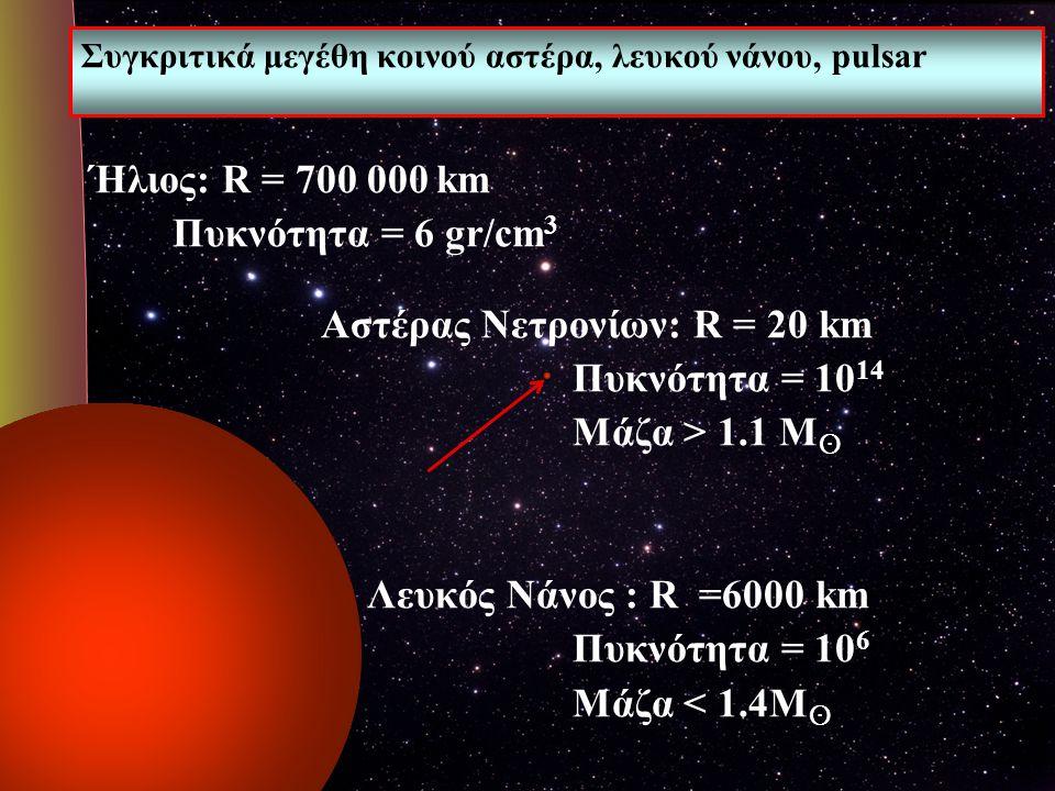 Συγκριτικά μεγέθη κοινού αστέρα, λευκού νάνου, pulsar