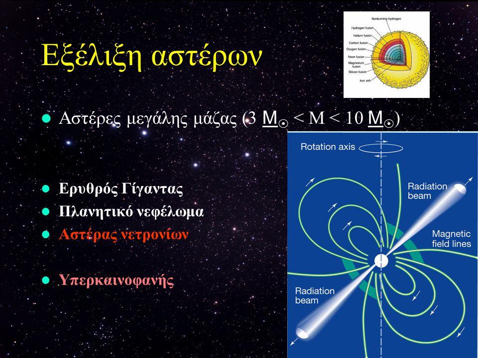 Εξέλιξη αστέρων Αστέρες μεγάλης μάζας (3 Μ < Μ < 10 Μ)