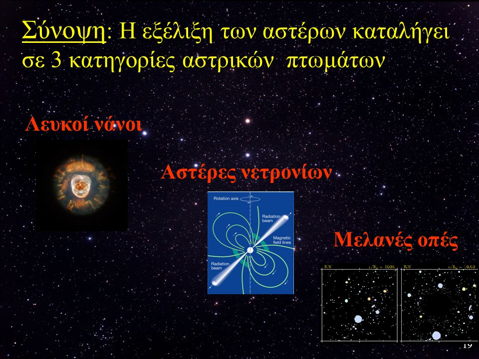 Σύνοψη: Η εξέλιξη των αστέρων καταλήγει σε 3 κατηγορίες αστρικών πτωμάτων