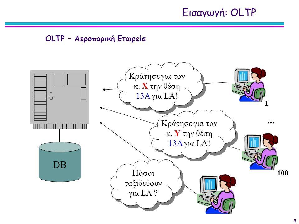 Εισαγωγή: OLTP ... DB Κράτησε για τον κ. Χ την θέση 13Α για LA!