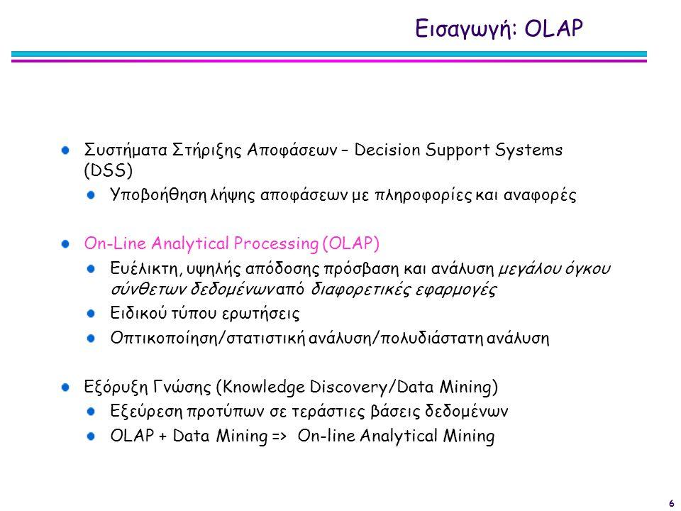 Εισαγωγή: OLΑP Συστήματα Στήριξης Αποφάσεων – Decision Support Systems (DSS) Υποβοήθηση λήψης αποφάσεων με πληροφορίες και αναφορές.