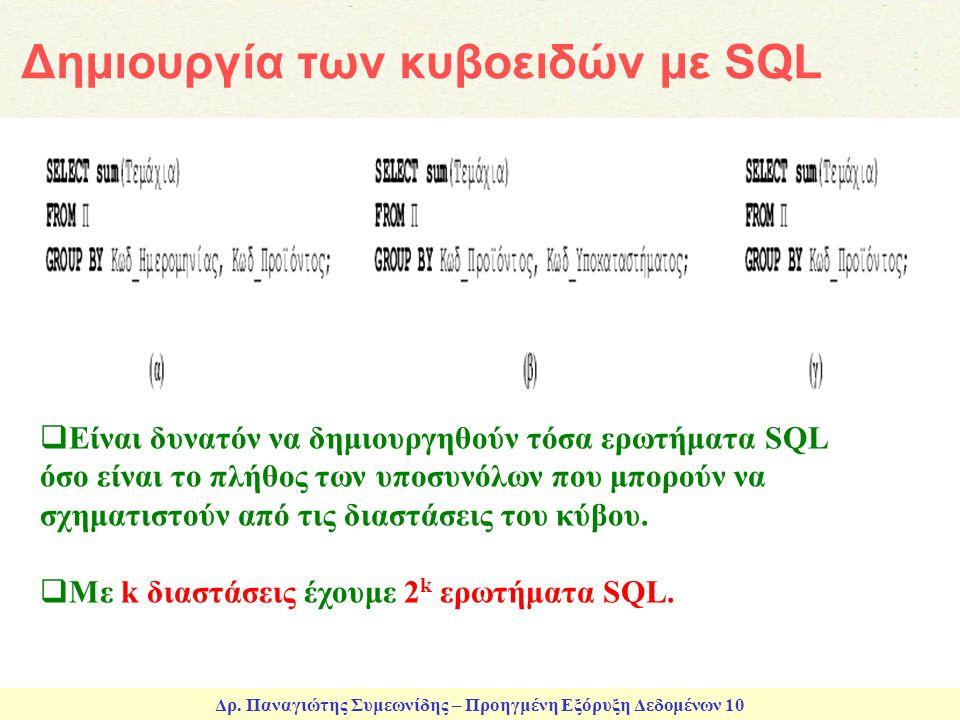 Δημιουργία των κυβοειδών με SQL