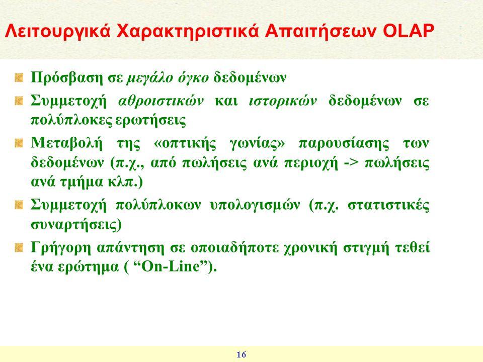 Λειτουργικά Χαρακτηριστικά Απαιτήσεων OLAP