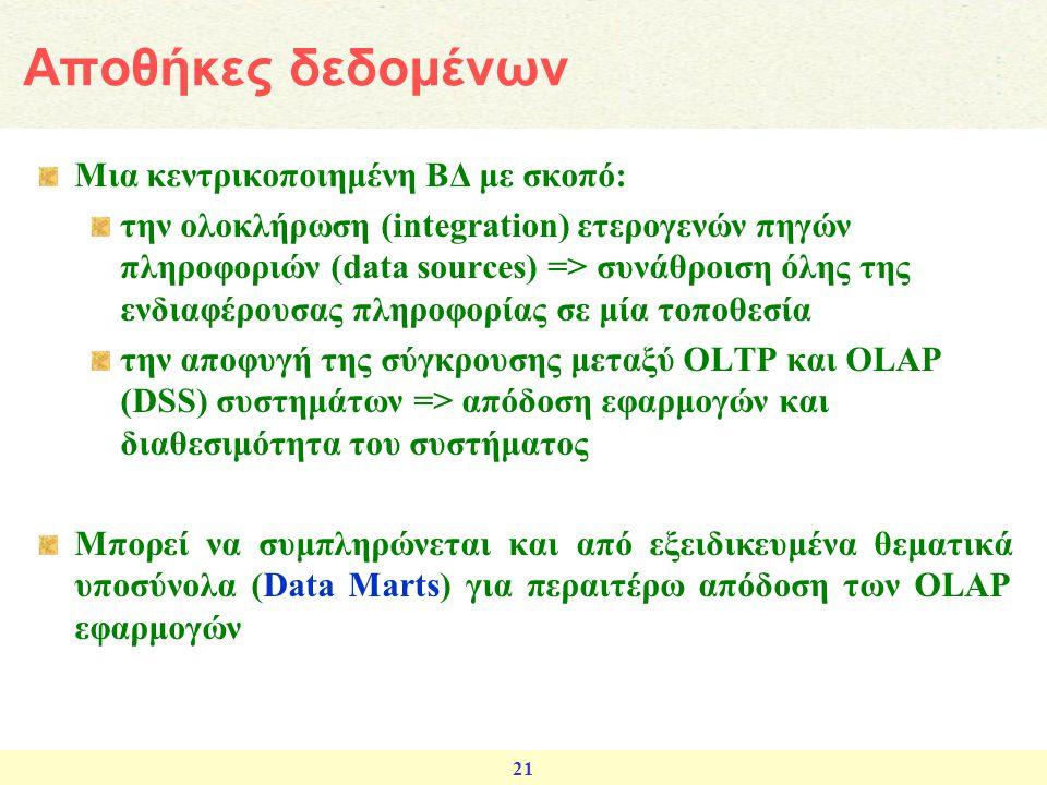 Αποθήκες δεδομένων Μια κεντρικοποιημένη ΒΔ με σκοπό: