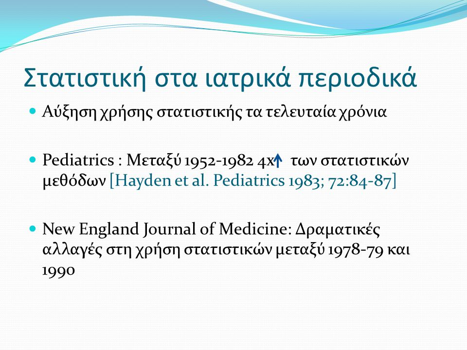 Στατιστική στα ιατρικά περιοδικά