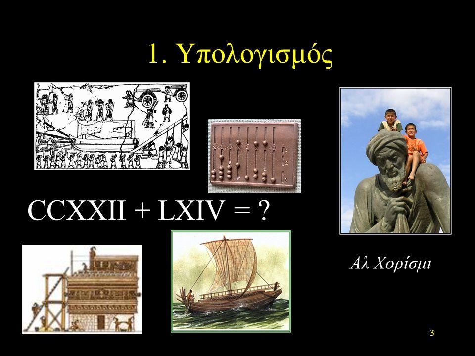 1. Υπολογισμός CCXXII + LXIV = Aλ Χορίσμι