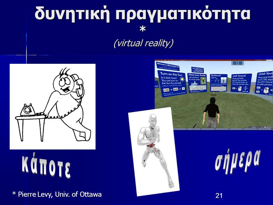δυνητική πραγματικότητα * (virtual reality)