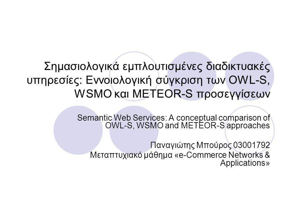 Σημασιολογικά εμπλουτισμένες διαδικτυακές υπηρεσίες: Εννοιολογική σύγκριση των OWL-S, WSMO και METEOR-S προσεγγίσεων