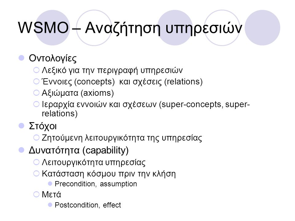 WSMO – Αναζήτηση υπηρεσιών