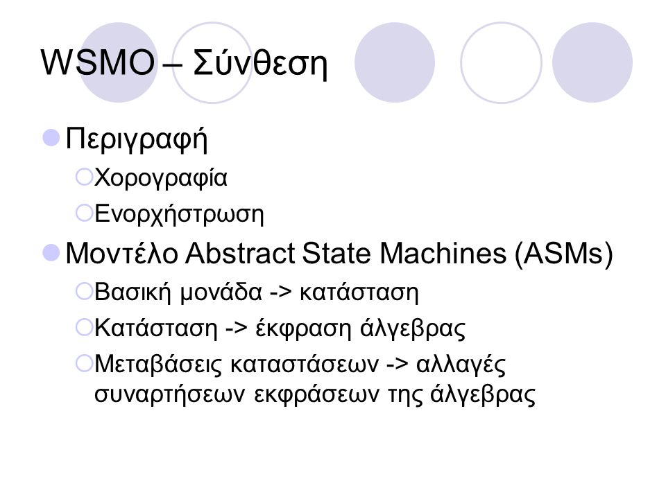 WSMO – Σύνθεση Περιγραφή Μοντέλο Abstract State Machines (ASMs)