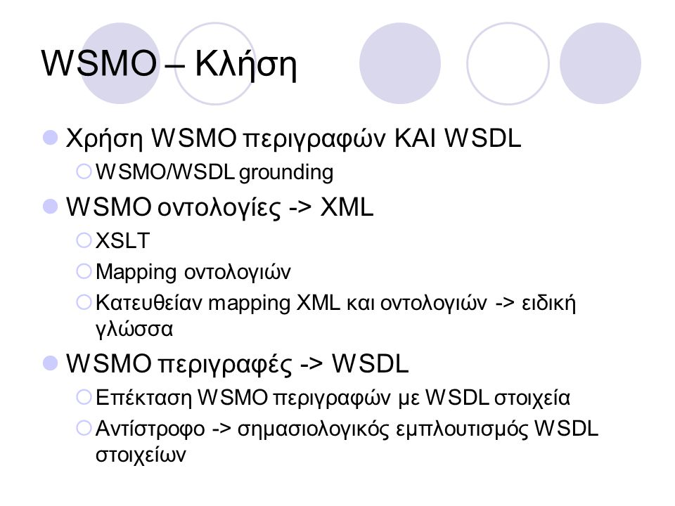 WSMO – Κλήση Χρήση WSMO περιγραφών ΚΑΙ WSDL WSMO οντολογίες -> XML