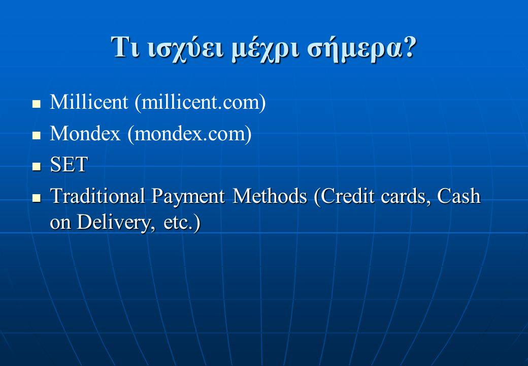 Τι ισχύει μέχρι σήμερα Millicent (millicent.com) Mondex (mondex.com)