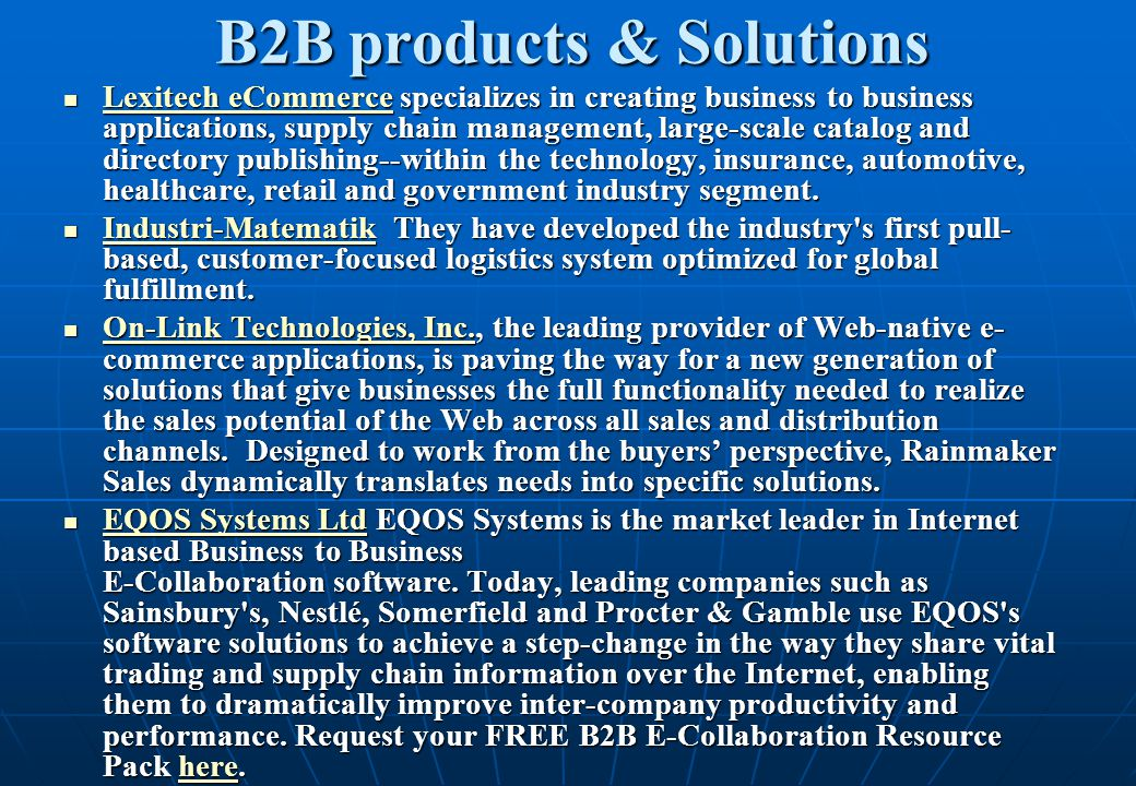 B2B products & Solutions