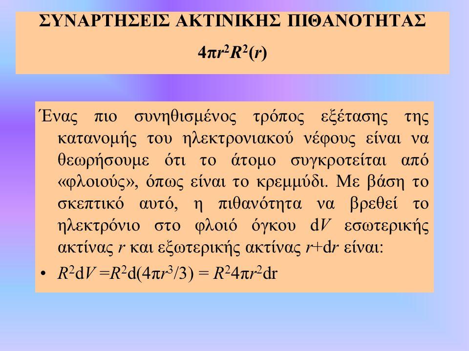 ΣΥΝΑΡΤΗΣΕΙΣ ΑΚΤΙΝΙΚΗΣ ΠΙΘΑΝΟΤΗΤΑΣ 4πr2R2(r)