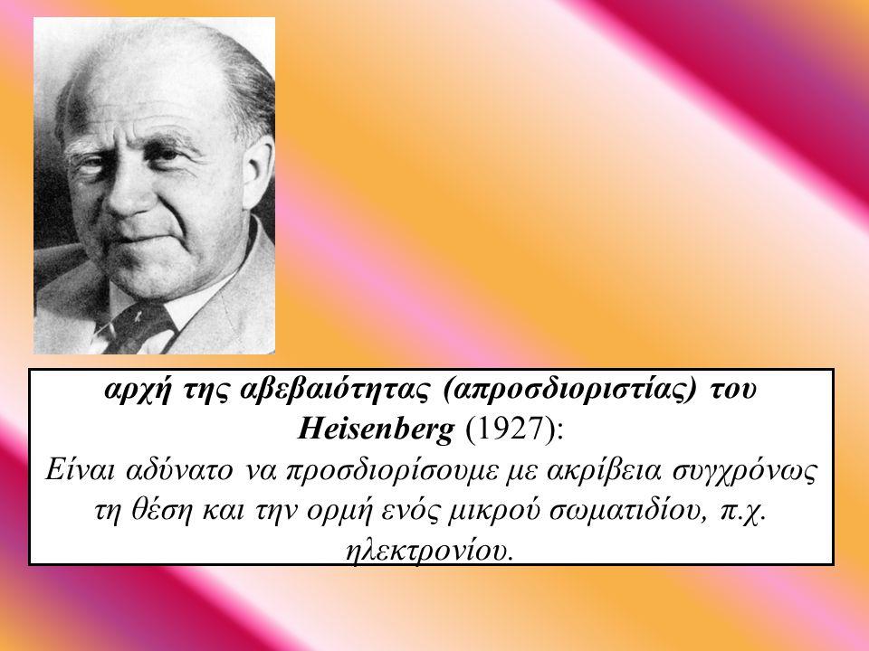 αρχή της αβεβαιότητας (απροσδιοριστίας) του Heisenberg (1927): Είναι αδύνατο να προσδιορίσουμε με ακρίβεια συγχρόνως τη θέση και την ορμή ενός μικρού σωματιδίου, π.χ.