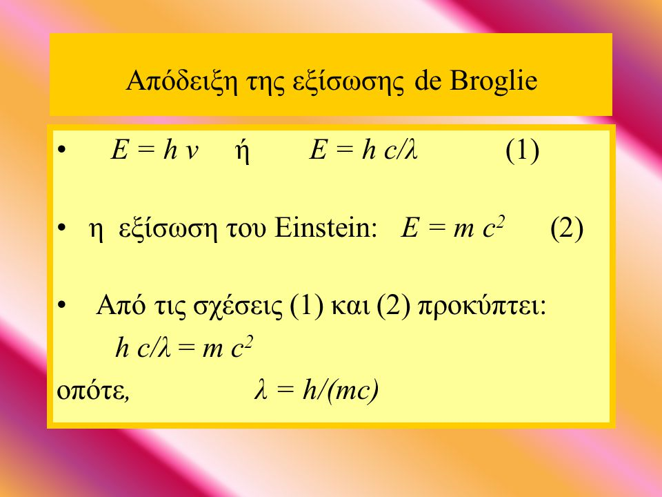 Απόδειξη της εξίσωσης de Broglie