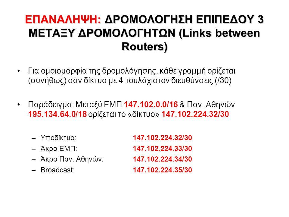 ΕΠΑΝΑΛΗΨΗ: ΔΡΟΜΟΛΟΓΗΣΗ ΕΠΙΠΕΔΟΥ 3 ΜΕΤΑΞΥ ΔΡΟΜΟΛΟΓΗΤΩΝ (Links between Routers)