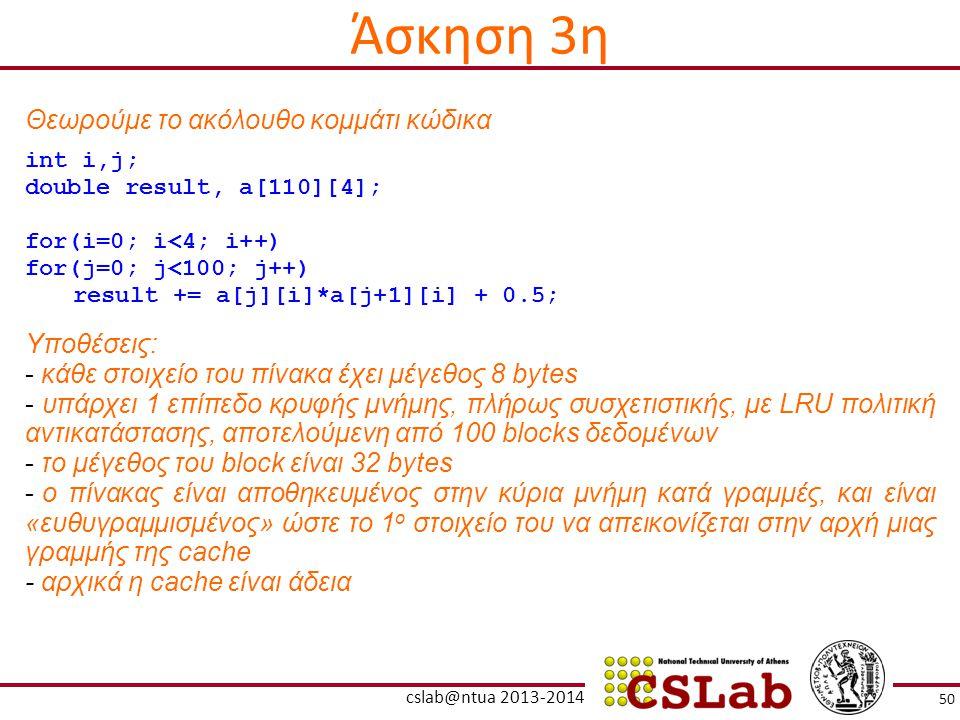 Άσκηση 3η Θεωρούμε το ακόλουθο κομμάτι κώδικα Υποθέσεις: