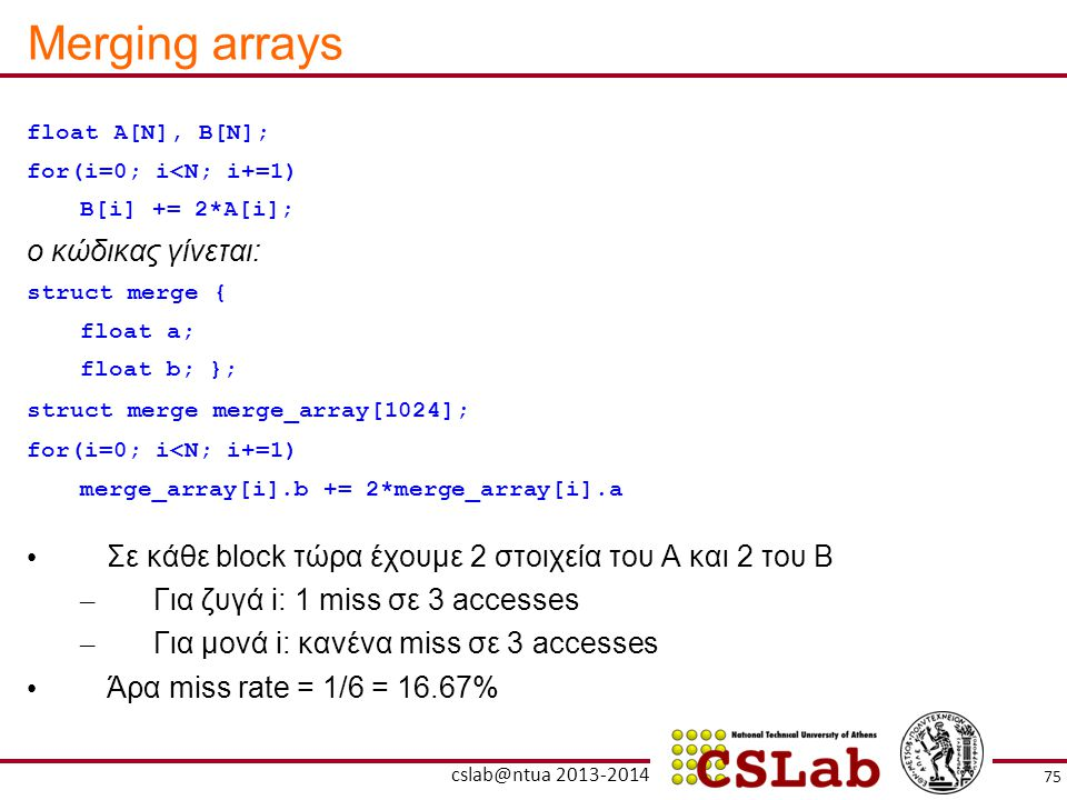 Merging arrays ο κώδικας γίνεται: