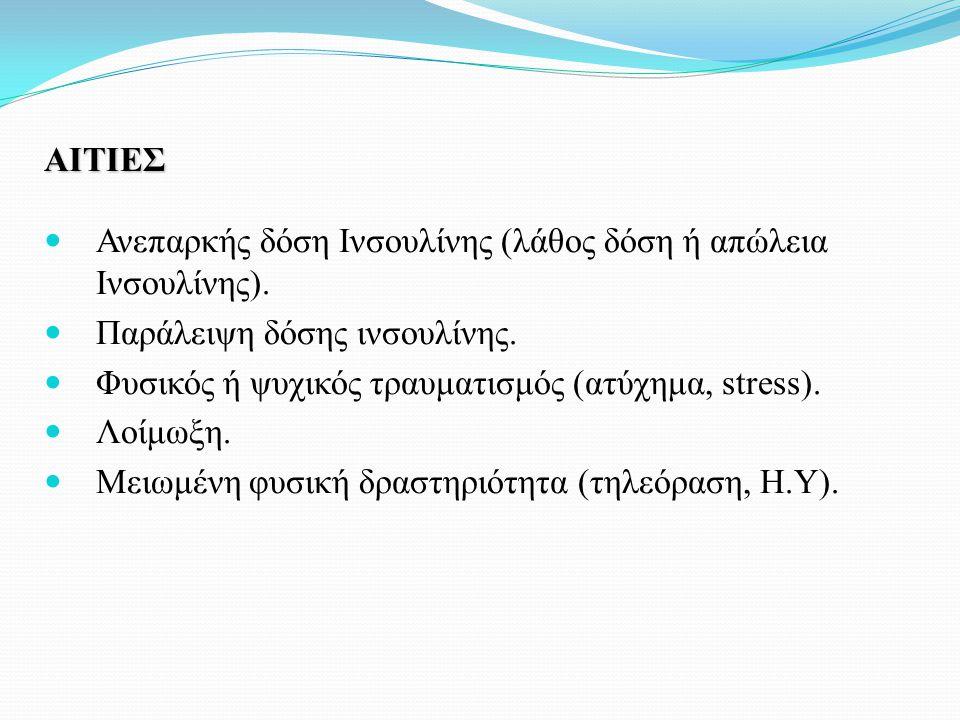 ΑΙΤΙΕΣ Ανεπαρκής δόση Ινσουλίνης (λάθος δόση ή απώλεια Ινσουλίνης). Παράλειψη δόσης ινσουλίνης. Φυσικός ή ψυχικός τραυματισμός (ατύχημα, stress).