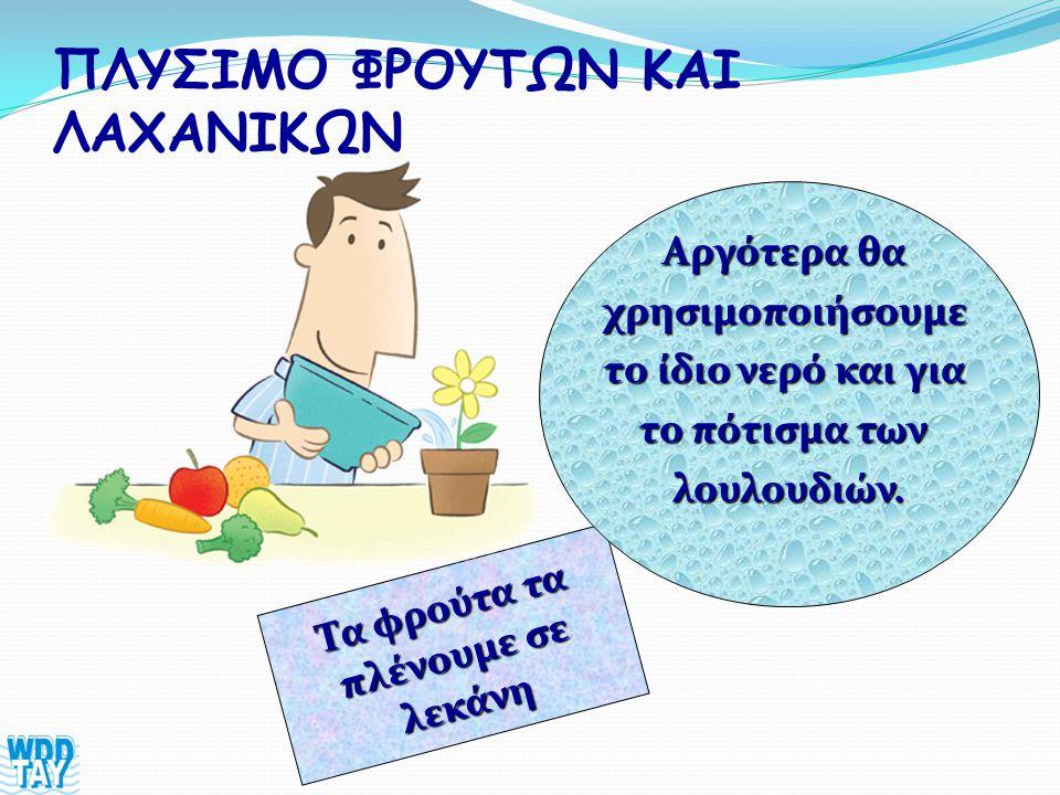 ΠΛΥΣΙΜΟ ΦΡΟΥΤΩΝ ΚΑΙ ΛΑΧΑΝΙΚΩΝ