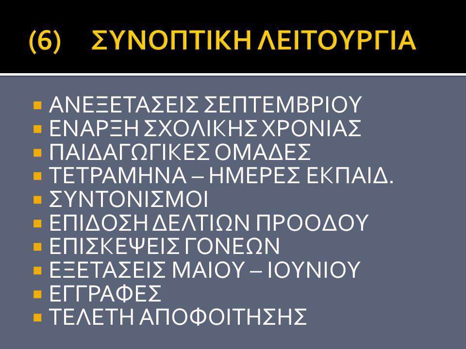(6) ΣΥΝΟΠΤΙΚΗ ΛΕΙΤΟΥΡΓΙΑ