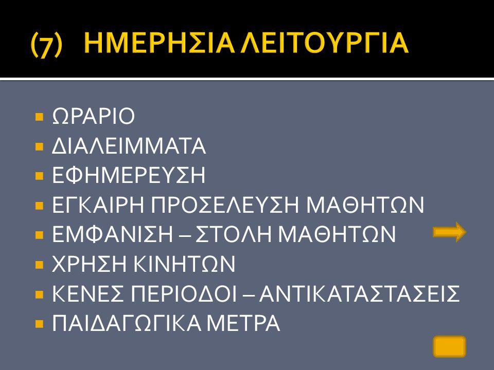 (7) ΗΜΕΡΗΣΙΑ ΛΕΙΤΟΥΡΓΙΑ