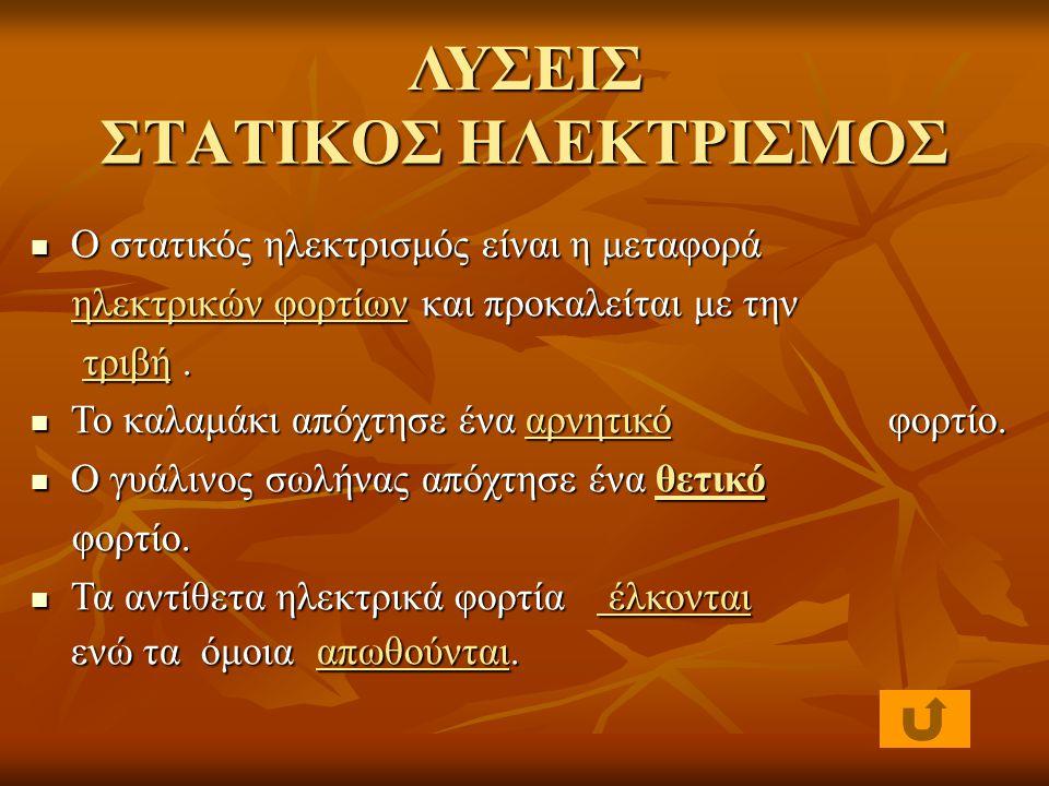 ΛΥΣΕΙΣ ΣΤΑΤΙΚΟΣ ΗΛΕΚΤΡΙΣΜΟΣ
