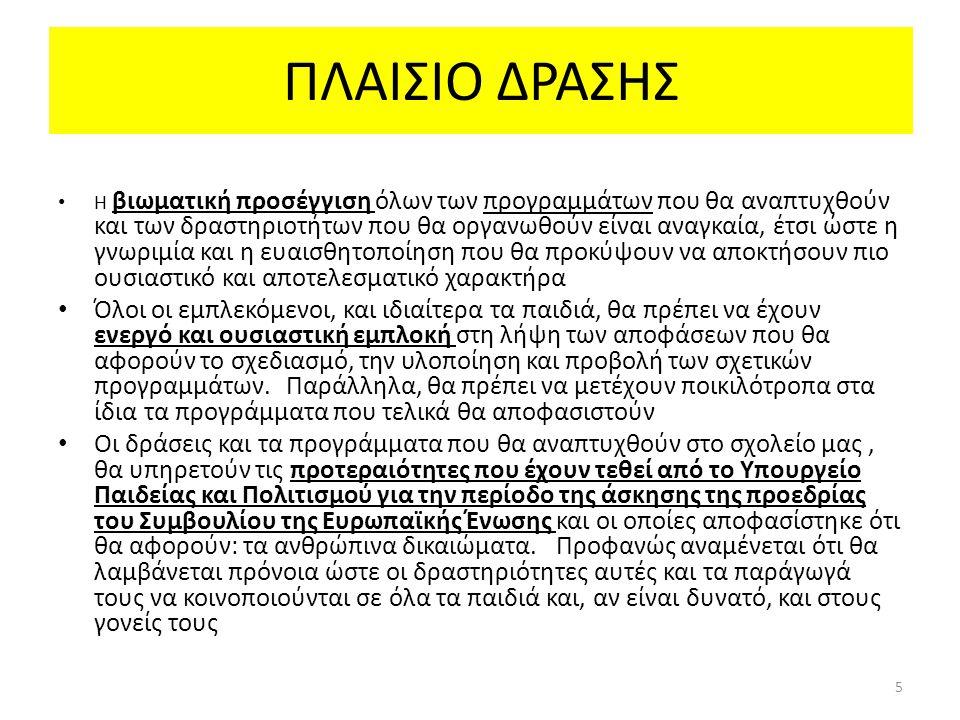 ΠΛΑΙΣΙΟ ΔΡΑΣΗΣ