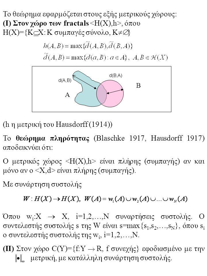 Το θεώρημα εφαρμόζεται στους εξής μετρικούς χώρους: