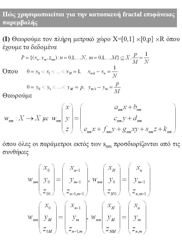 Πώς χρησιμοποιείται για την κατασκευή fractal επιφάνειας παρεμβολής