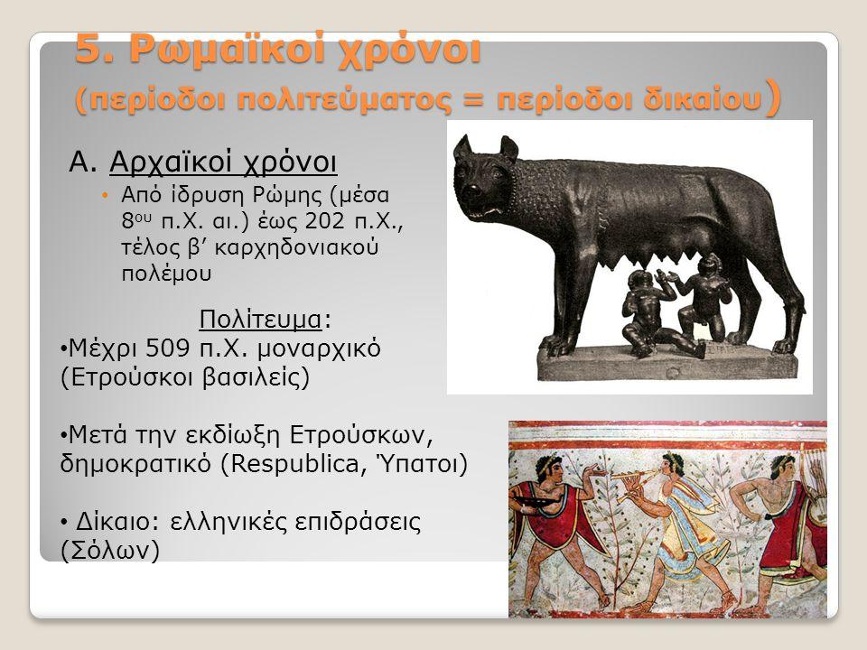 5. Ρωμαϊκοί χρόνοι (περίοδοι πολιτεύματος = περίοδοι δικαίου)