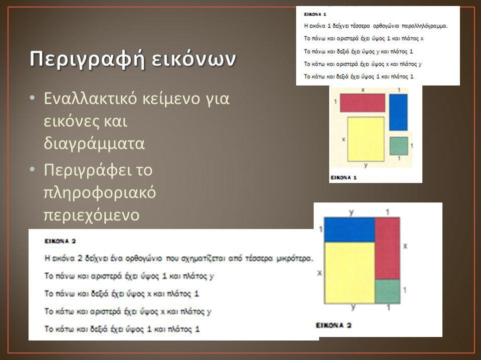 Περιγραφή εικόνων Εναλλακτικό κείμενο για εικόνες και διαγράμματα