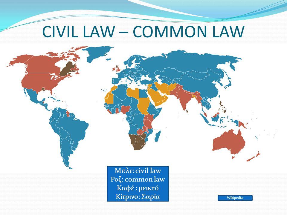 CIVIL LAW – COMMON LAW Μπλε: civil law Ροζ: common law Καφέ : μεικτό