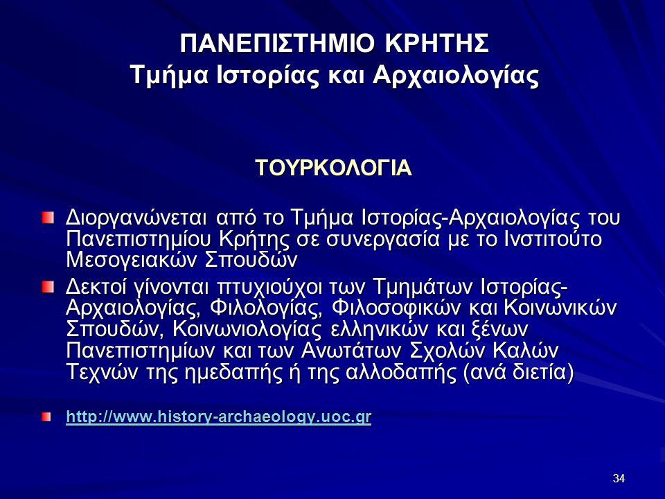 ΠΑΝΕΠΙΣΤΗΜΙΟ ΚΡΗΤΗΣ Τμήμα Ιστορίας και Αρχαιολογίας