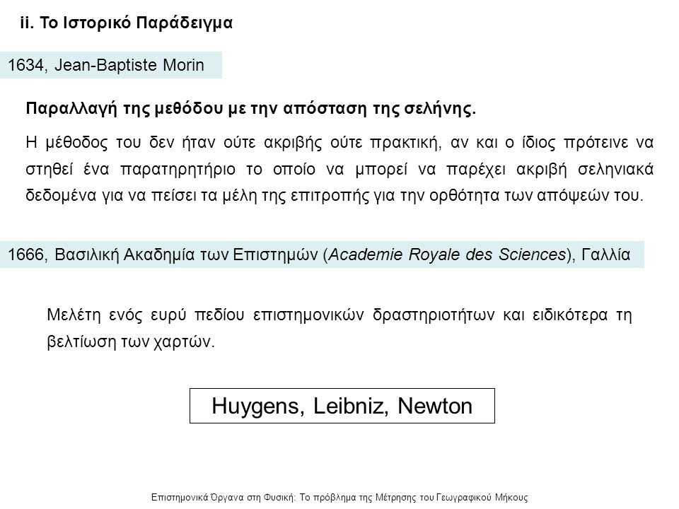 Huygens, Leibniz, Newton