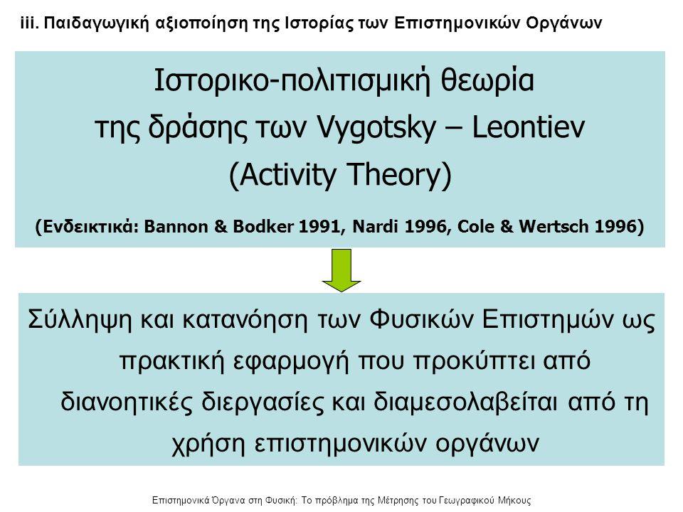 (Ενδεικτικά: Bannon & Bodker 1991, Nardi 1996, Cole & Wertsch 1996)