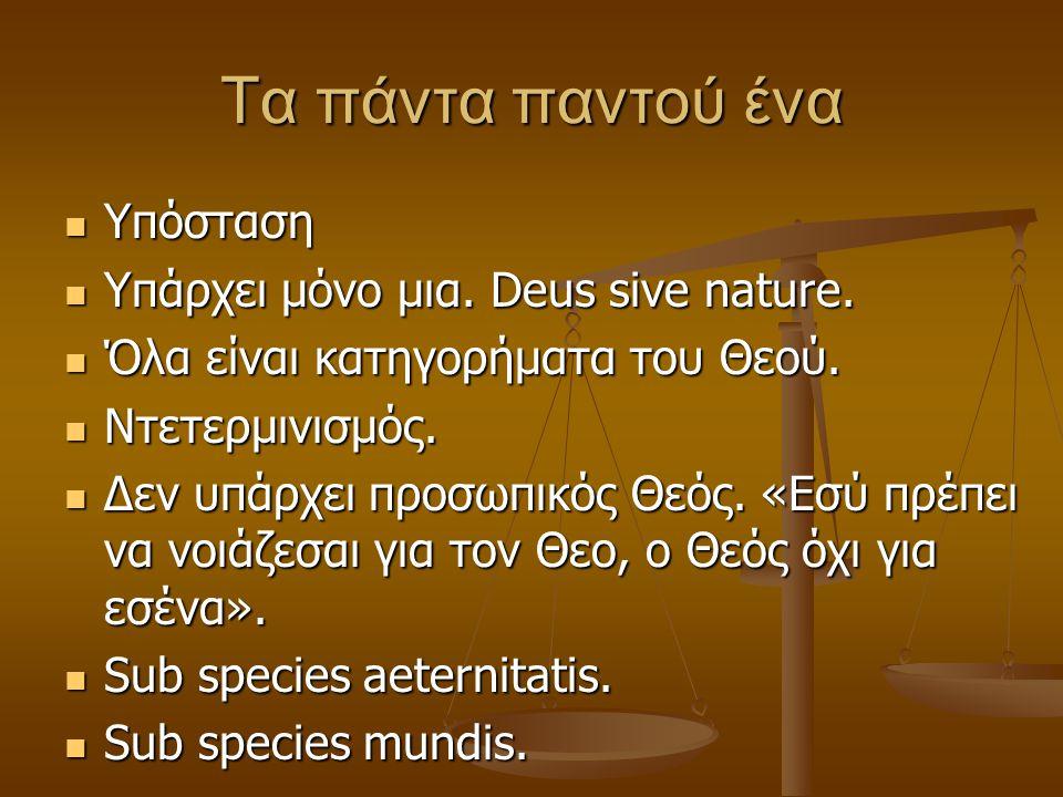 Τα πάντα παντού ένα Υπόσταση Υπάρχει μόνο μια. Deus sive nature.