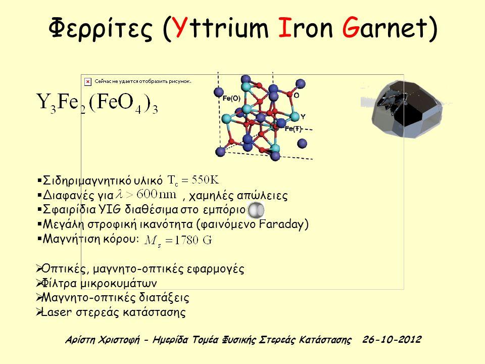 Φερρίτες (Yttrium Iron Garnet)