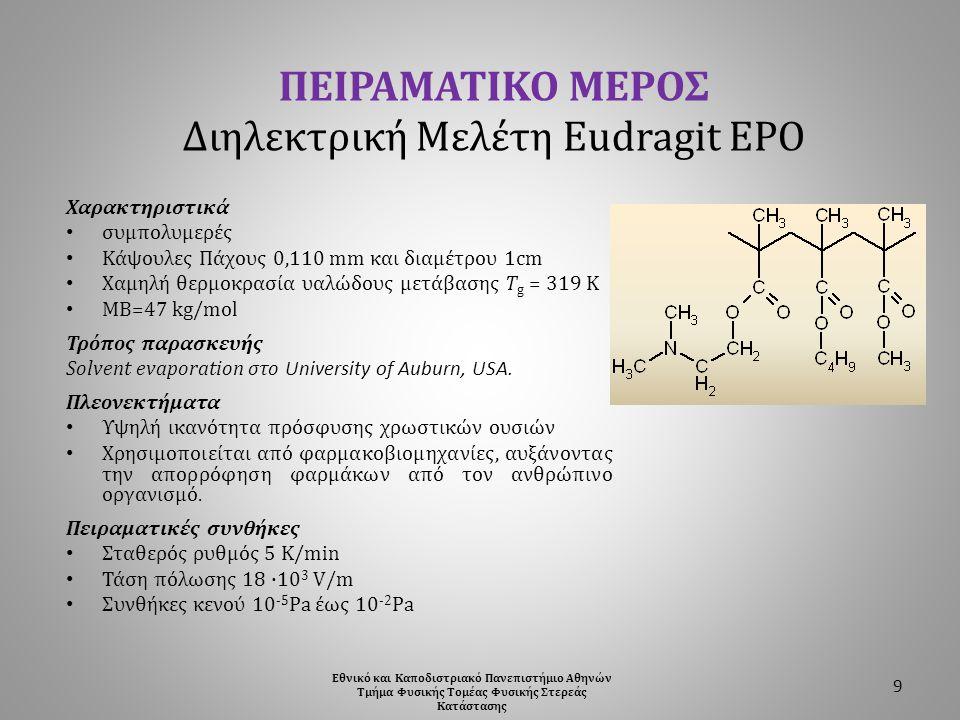 ΠΕΙΡΑΜΑΤΙΚΟ ΜΕΡΟΣ Διηλεκτρική Μελέτη Eudragit EPO