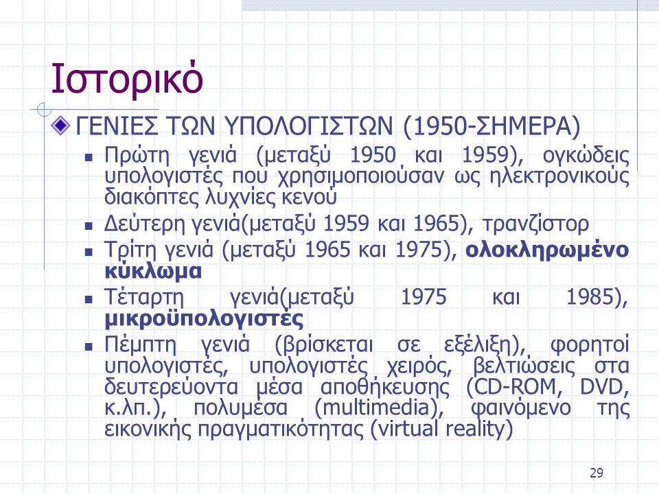 Ιστορικό ΓΕΝΙΕΣ ΤΩΝ ΥΠΟΛΟΓΙΣΤΩΝ (1950-ΣΗΜΕΡΑ)