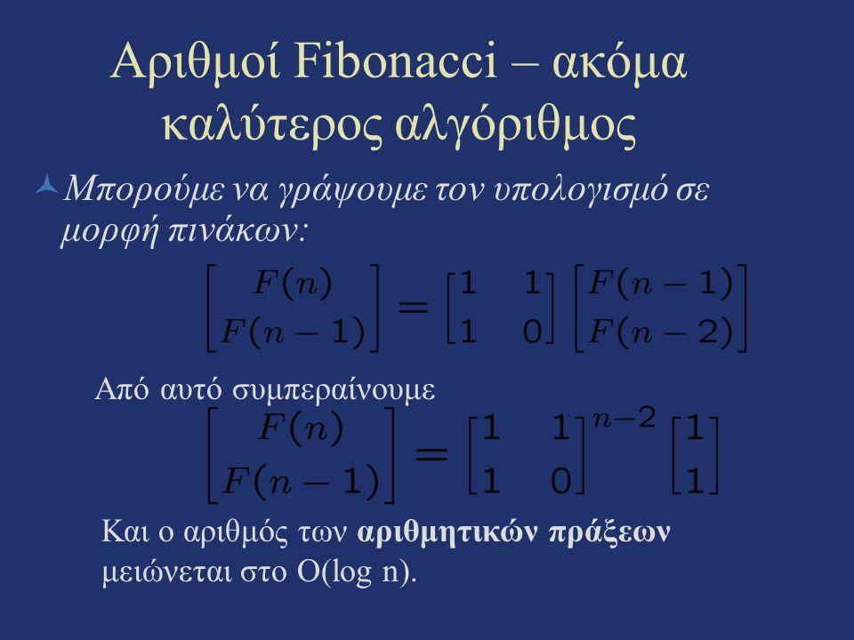 Αριθμοί Fibonacci – ακόμα καλύτερος αλγόριθμος