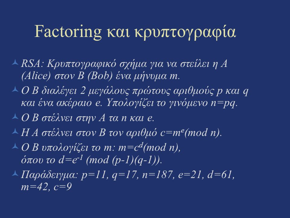Factoring και κρυπτογραφία
