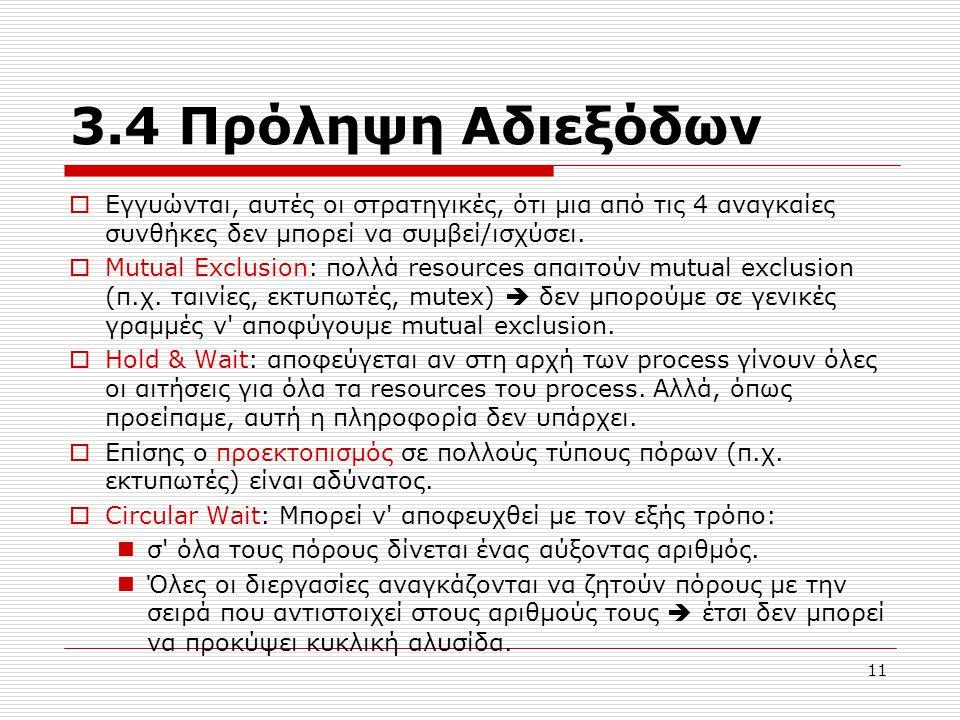 3.4 Πρόληψη Αδιεξόδων Εγγυώνται, αυτές οι στρατηγικές, ότι μια από τις 4 αναγκαίες συνθήκες δεν μπορεί να συμβεί/ισχύσει.